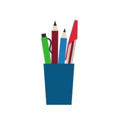 Colored engineering office pens and pencils vector image vector image