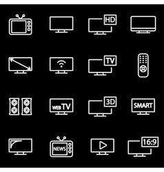 line tv icon set vector image vector image
