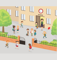 primary education group of elementary school kids vector image