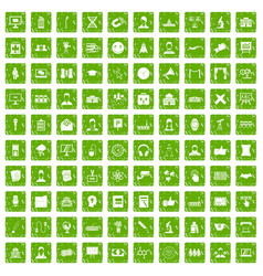 100 conference icons set grunge green vector image