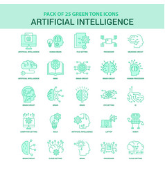 25 green artificial intelligence icon set vector image