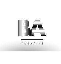 Ba b a black and white lines letter logo design vector
