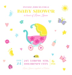 Baby shower or arrival card - with elements vector