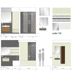 Bathroom interior furniture scale 1to10 vector
