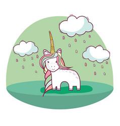 beautiful unicorn with long mane and nice land vector image