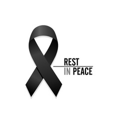 Black ribbon rest in peace vector