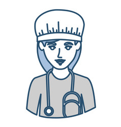 blue silhouette with half body of nurse vector image