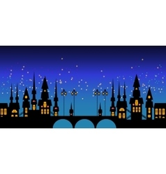 Border of europe night city skyline vector