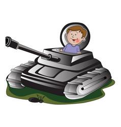 Boy in army tank vector