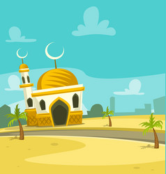 Cartoon mosque building scene art vector