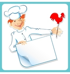 Chef with caramel and a banner vector image