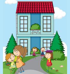 children infront of simple house vector image
