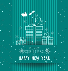 christmas and happy new year with gifts card vector image