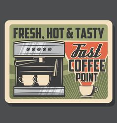Coffee machine cafe and coffeeshop espresso vector