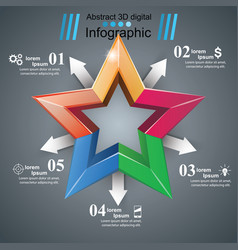 Color star - paper origami infographic vector