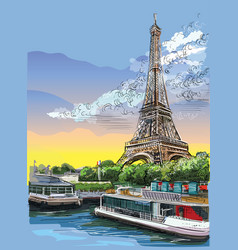 colorful hand drawing paris 3 vector image