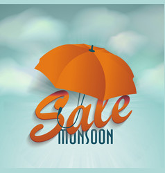 creative sale design of monsoon offer with 3d vector image