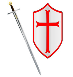 Crusaders sword and shield vector