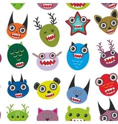 Cute cartoon Monsters Set seamless pattern on vector