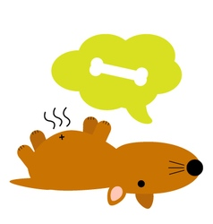 Cute fat brown hungry dog vector