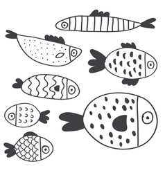 cute handdrawn fish set isolated on white vector image