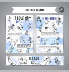 dog club newsletter with hand drawn dogs breeds vector image