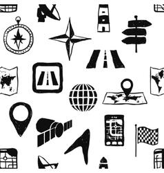 Doodle seamless navigation pattern vector