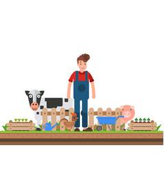 farmer working character design organic vector image