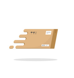 fast delivery box flying icon flat cartoon vector image