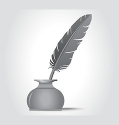 feather quill in the ink well vector image