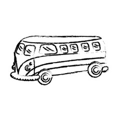 figure retro hippie bus transportation with vector image