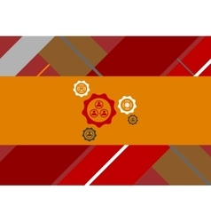 Flat geometric tech background with gears vector