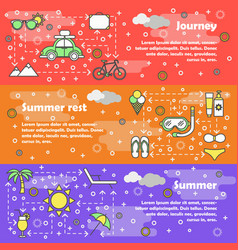 flat line art summer banner set vector image