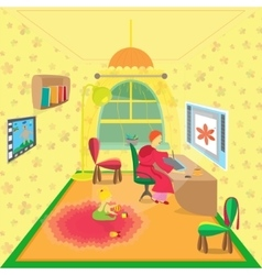 Freelance designer in the cozy home room vector