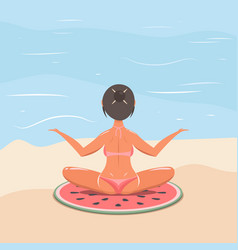 Girl in a swimsuit on the beach doing yoga vector