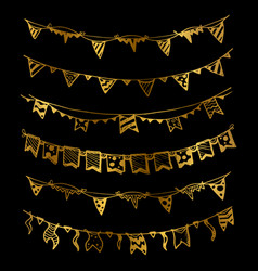 gold holiday garlands with light bulbs set vector image