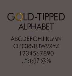 gold-tipped alphabet with numbers and punctuation vector image