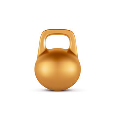 golden realistic dumbbell weight isolated on white vector image