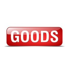 goods red square 3d realistic isolated web button vector image