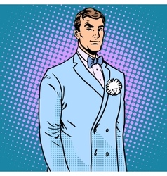 Groom in a wedding suit vector