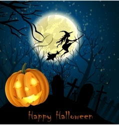 Halloween background of Witch on the full moon vector image