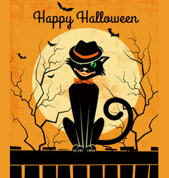 halloween black cat and full moon vector image