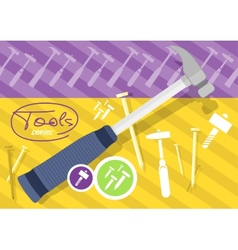 Hammer and nails hammer tool vector image