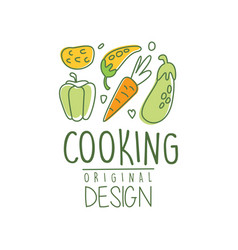 Hand drawn cooking logo design with fresh vector