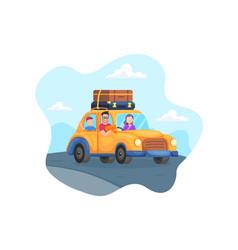 Happy family trip car vector