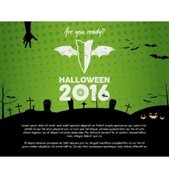 Happy Halloween 2016 green landscape poster Are vector image