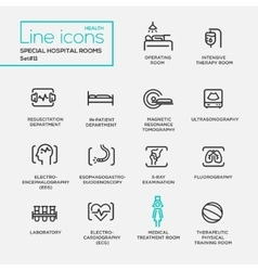 Hospital special rooms - line design pictograms vector