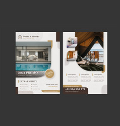 Hotel and resort information flyer with photo vector
