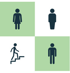 Human icons set collection of female gentleman vector