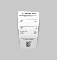 International hotel check with prices vector
